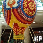 hot air balloon made from flowers
