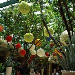 Balls in trees made from flowers