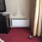 stained wall and radiator not level