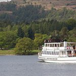 Steamer MV Swan on the Yellow Cruise from Bowness to Lakeside. The journey takes about 40 minute