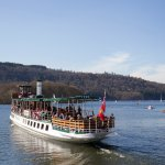 Steamer MV Tern heading out from Bowness Pier. She is our oldest vessel, built in 1891.