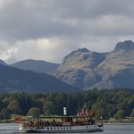 Steamer MV Tern on the Red Cruise. Passengers being treated to stunning views of the Langdale Pi