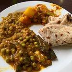 Buffet, peas and aubagine and potato curry options