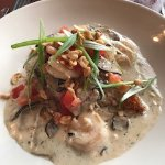 Grits and mushrooms with shrimp