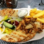 Their very tasty Chicken & Pork Gyros served in the bar area
