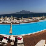 The pool area with Vesuvius in the background