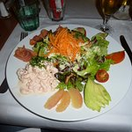 The signature 'Salade Debarcadere' - Smoked Salmon with Shrimps in white Mayonnaise