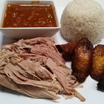 Pulled Pork, Rice and Beans and Plantains