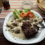 Steak with Gorgonzola and Mushrooms at the Barhana.