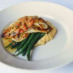 Carolina-caught Flounder , French beans, pepperjack cheese, Geechie Boy grits