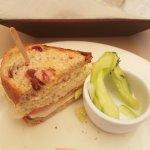 Turkey sandwich on cranberry bread.