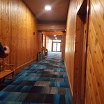 Hallways give a lodge feel going to breakfast or indoor pool areas