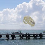 Hubby and I going up Parasailing - Loved the experience