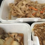Chicken chow fun, beef with mushrooms, and chicken fried rice.