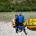 Steph & Craig about the raft the Soca River