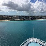 From the front of our ship, Junkanoo Beach is to the far right of the picture.