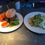 Chicken Burger with sweet chilli sauce and sweet potato fries. Trout Fillet on chive and salmon
