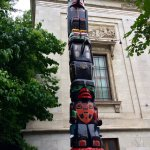 Totem pole outside Museum, remembering Canada's native experience, summer 2017