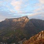 Sunrise reflecting off Table Mountain