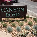 The sign marks where Canyon Road begins. What is up road is for your own enchantment.