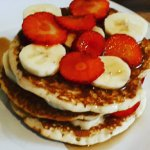 Fruit stack with maple syrup