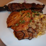 galbi ribs, chicken, fried rice, and slices of ahi tuna