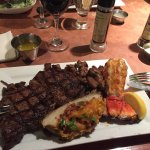 Grilled sirloin and lobster tail.