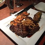 Ribeye with grilled shrimp.