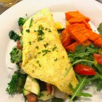 Delicious breakfast omelette with sweet potatoes and salad. Amazing breakfast to start your day!