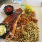 Blackened Broiled Fish with Grilled Shrimp.....