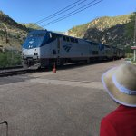 "Amtrak's ""California Zephyr"" arriving at the depot in Glenwood Springs across the Colorado River"