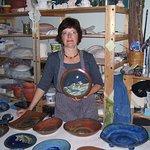 Artist Janet Grabner with her wares at her studio in the Badlands of Drumheller