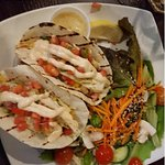 Fish tacos - baked haddock with fresh salad! Nothing fried!