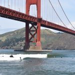 Surfers at Fort Point around noon on a sunny day!!