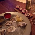 Fresh oysters and deviled eggs, yum!