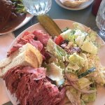 Smoked meat with Greek salad