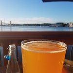 Sipping a cold beer while enjoying the view