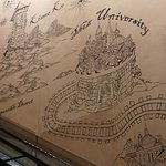 Wall mural outlines the scenes.