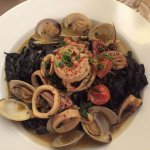 Squid Ink Pasta Calamari Shrimp & Clams