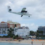 small plane over Maho Beach
