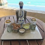 The welcome amenity of Clase Azul Reposado Tequila (ours to keep!) w/ cashews, limes, and salt
