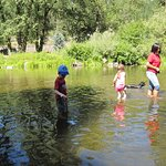 Kid's and dog enjoying the Grande Ronde River.