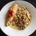 Grilled redfish with wild rice pilaf and southern butter beans.