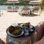 Lunch from one of the two restaurants on the island. Great