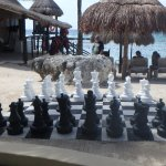 The gigantic chess set ready for play!