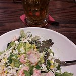 Lobster Avocado Salad and house lager beer.