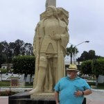 This is me at the Christopher Combus statue on the grounds.