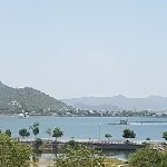 panoramic view of the fateh sagar lake with the hills in the backdrop