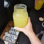 Fresh juice, bread and shortbread cookies