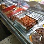 Kebabs at counter